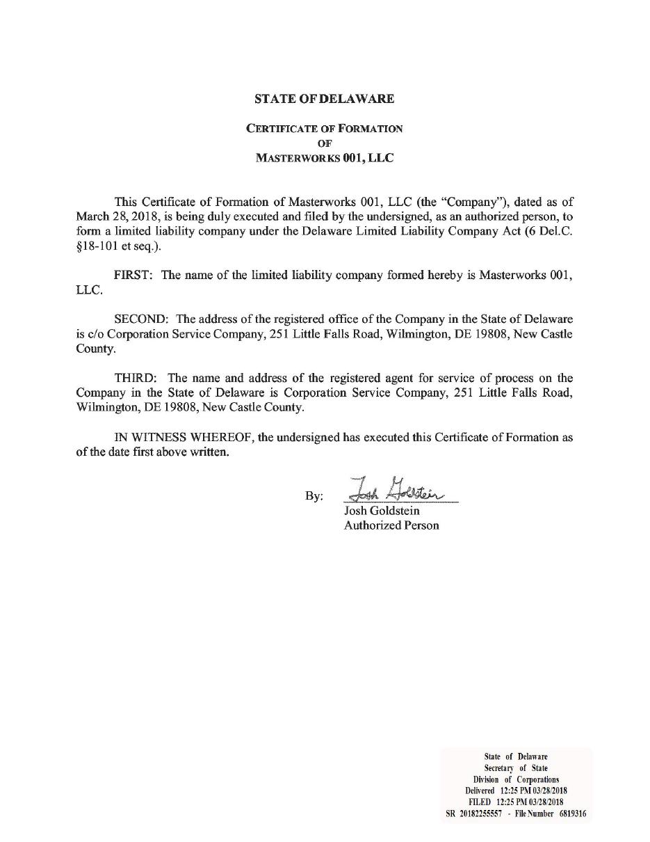 Certificate Of Formation Of Masterworks 001 Llc Filed With Delaware